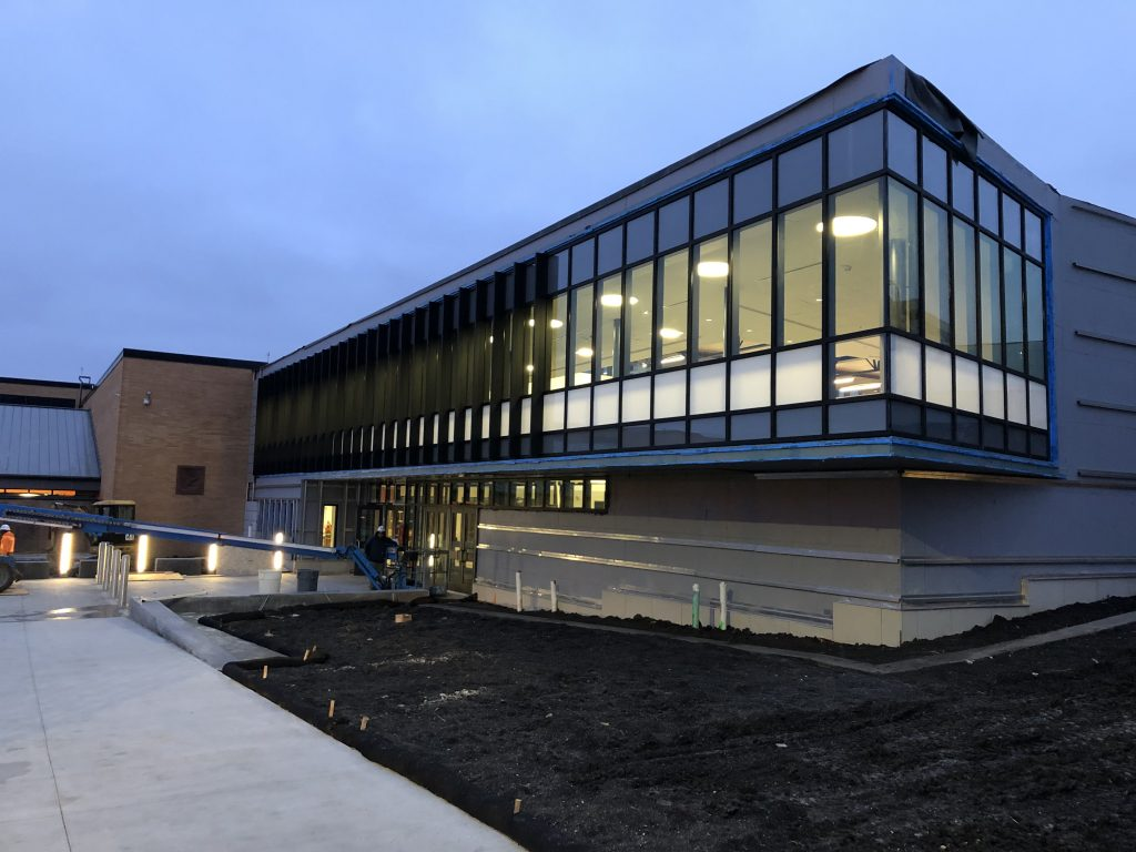 Photo of the new Prairie High School entrance.